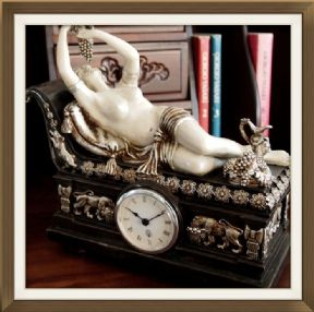 Beautiful Clock Seductive Reclining Bacchante Empire Style